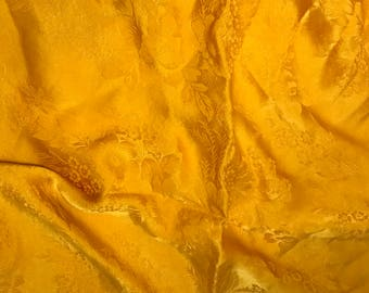 """Hand Dyed Golden Yellow FLORAL - Silk Jacquard Fabric - 9""""x22"""" remnant"""