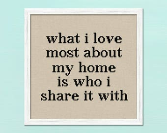 what i love most about my home is who i share it with. Quote Modern Simple Counted Cross Stitch Pattern PDF Instant Download