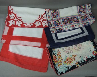6 Vintage Hankies Red & Blue, Floral, Stripes 1950s Hankie Lot