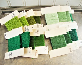 embroidery floss green colors sample card bobbins