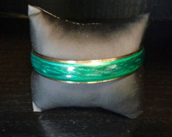 Pearlized Bangle Bracelet - Green - Vintage Avon - 1985