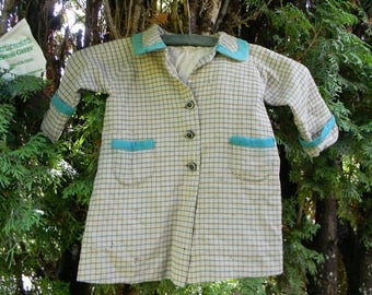Close Out Sale Very Vintage Child's Wool Coat Green and Tan Plaid, Handmade