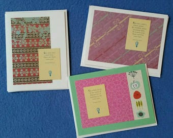 Three Handmade Greeting Cards with Quotes About Creativity by Jonathan Swift, George Sand, and Isadora Duncan - upcycled blank cards