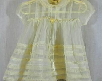 Vintage Nylon Baby Girl Infant Dress - White Sheer Nylon Dress