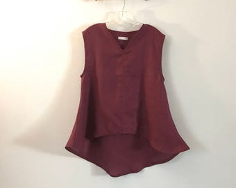 V neck burgundy heavy linen wavy end top size M ready to wear