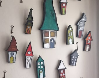 A set of fifteen houses