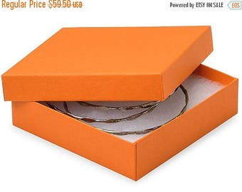 Summer Sale 100 Pack Matte Finish 100 Percent Recycled Tropical Orange 3.5 X 3.5 X 1 Inch  Size Cotton Filled Jewelry Presentation Gift Boxe
