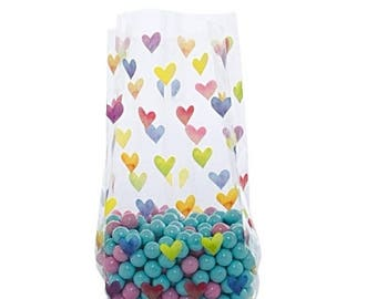 New Years Sale 20 Pack Rainbow Hearts Clear View Poly Bags 3.5 X 2 X 7.5 Inch Size