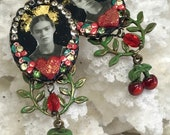 Lilygrace Frida Black Cameo Earrings with Vintage Rhinestones and Cherry Charms