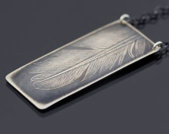 Large Feather Necklace, sterling silver feather jewelry, feather imprint, oxidized feather, nature jewelry, rectangle pendant, woodland