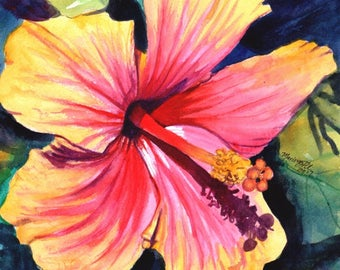 hibiscus original watercolor painting from kauai hawaii hawaiian paintings pink yellow tropical flowers interior decor kauai fine art flower