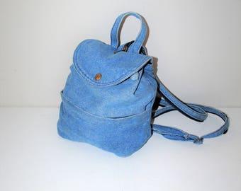 pale denim mini backack 90s grunge small faded denim napsack