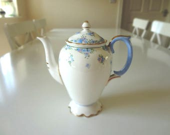 Vintage Pedestal Teapot Coffee Pot Crown Staffordshire  Full Size Blue Pink Floral Forget Me Not -  EnglishPreserves