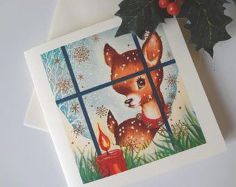 Handmade Christmas Card Fawn Looking through Window Candle Retro Mid Century Kitsch Illustration - I Will Post for You - EnglishPreserves
