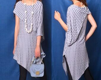 Free Shipping SALE Size XS Nile Garden - asymmetrical cotton tunic deconstructed boho tunic dress extravagant dress / grey t shirt  (Y19b6)