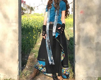 Free Shipping SALE Peacock - boho cotton linen maxi skirt / blue maxi skirt / embellished asymmetrical skirt / layered skirt (Q31285)