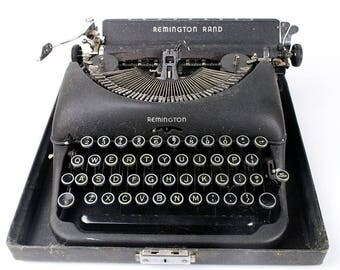 Vintage Remington Rand Art Deco Deluxe Model 5 Black Portable Typewriter
