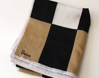 Vintage Vera Scarf. Black, white, tan  squares, vintage 1980s oblong.