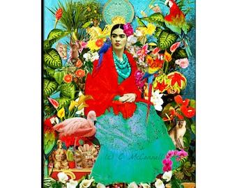 READY TO HANG Frida Kahlo Stretched Canvas Art Print Boho Vintage Modern Home Deco Aqua Blue Red Black Best Selling Items Frida Kahlo