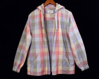 90's vintage PASTEL PLAID flannel hoodie // soft brushed COTTON jacket // women's size M