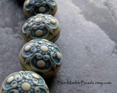 Vintage Bead, Etched Bead, Round Bead, Baroque, Blue Bead, Lucite Bead, Flower Bead, Shabby Chic, Victorian, Cream Bead, Double Sided, 10