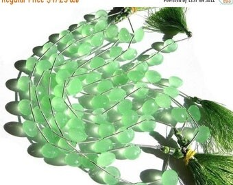 50% Off Sale AAA Prehnite Chalcedony micro faceted onion shaped briolettes 12 pieces 6 matched pair Size 13 - 14mm  approx