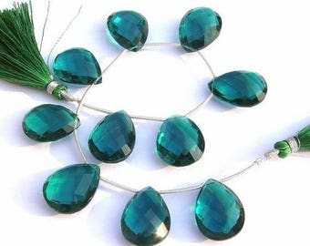 50% Off Sale 1/2 Strand - AAA Teal Blue Quartz Faceted Pear Briolettes Calibrated Size 20x15mm approx