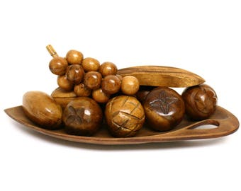 Ten Piece Set of Decorative Carved Wooden Fruit with Leaf Shaped Bowl