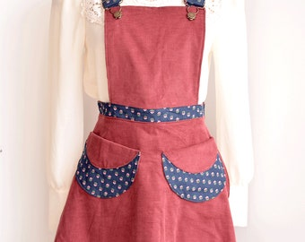 Corduroy Pinafore, corduroy pinafore jumper,  corduroy spring jumper, apron, apron dress, corduroy dress, short floral dress