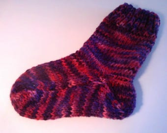 Childrens Hand Knit Hand Dyed Wool  Socks Rose Tweed Ages 5-6
