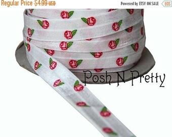 20% OFF EXP 06/30 5 YARDS 5/8 inches Print Fold Over Elastics Foe - Chic Roses Shabby