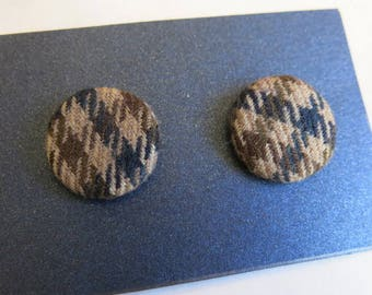 Tweed earrings - fabric covered earrings in soft brown wool tweed - gifts for her - stocking filler - secret santa
