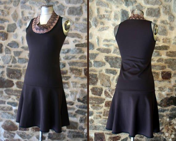 Two-tone brown chocolate collar cowl Chevron Tan dress. Dress size 38 Retro