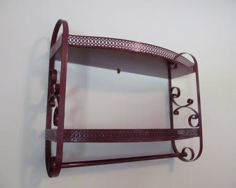 Vintage Metal 2-tier Shelf Unit Towel Bar Spice Rack Bath or Kitchen Retro Chic Claret Wine
