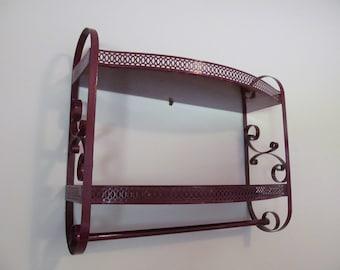 Vintage Metal 2-tier Shelf Unit Towel Bar Spice Rack Bath or Kitchen Retro Chic Claret Wine