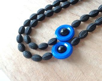 Black royale blue statement necklace