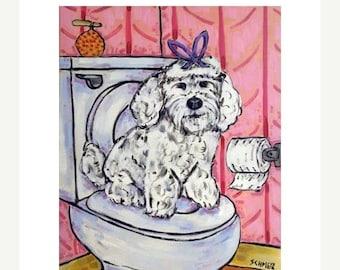 20% off storewide Maltese in the Bathroom Dog Art Print JSCHMETZ modern abstract folk pop art american ART gift 11x14