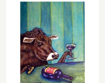 20% off Cow at the Wine Bar Art Print