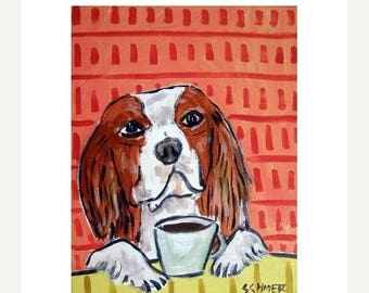 20% off Cavalier king Charles Spaniel at the Coffee Shop Dog Art Print