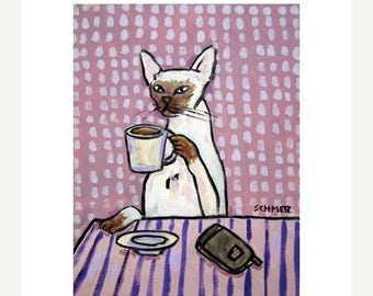20% off Siamese Cat at the Coffee Shop Art Print