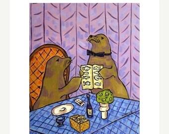 Sea lion Food Critic Animal Art Print 11x14 JSCHMETZ modern abstract folk pop art american ART gift