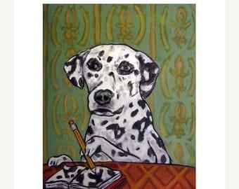Dalmatian Artist Dog Art PRINT  JSCHMETZ modern abstract folk pop art american ART gift