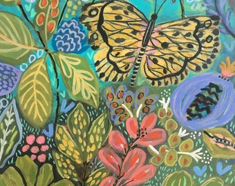 Jungle Butterfly Flowers Original Painting on 18 x 24 Paper by Karen Fields