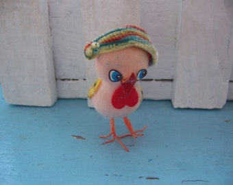 pink styrofoam flocked chick with pipe cleaner