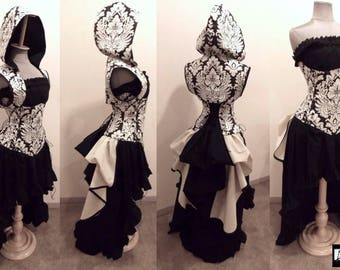 """READY TO MAIL Size 40-43"""" Waist - Enchanting Duchess Steampunk Damask Corset, Hoodie, High Low Skirt, Top and Bustle by LoriAnn"""
