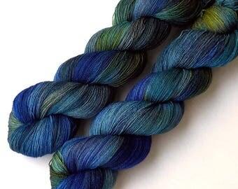 Lace Yarn Hand Dyed Yarn Merino Silk Cashmere Lace Yarn 1280 yards Blue Van Gogh