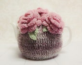 Scottish Heather and Pink Roses ,  Crochet Tea Cozy, Rosy Cozy, Grey and Pink Cozy