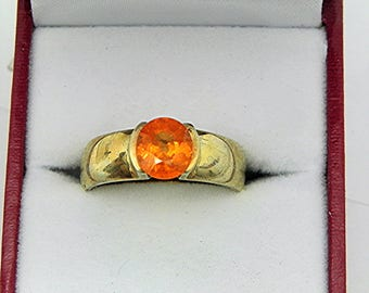AAA Orange Spessartite Garnet   2.2 carat 7 x 7.6mm  Heavy bezel set 14K Yellow gold Stack able Engagement ring MMM