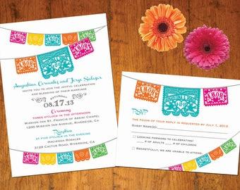 Invitation Love Birds Papel Picado banner Fiesta Wedding, Engagement, Shower -  I design you print