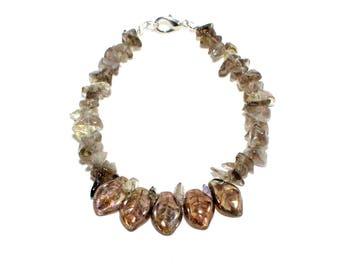 Copper leaf Czech glass and smoky quartz chip stone beaded stacking bracelet